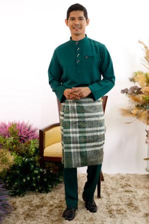 Baju Melayu Al-Habib Emerald Green ( PAKEJ SAMPIN + SONGKOK )