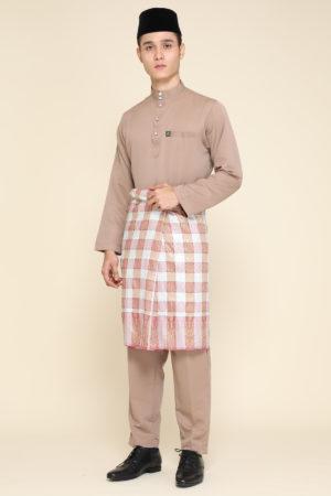 Baju Melayu Al-Habib Mocha ( PAKEJ SAMPIN + SONGKOK )