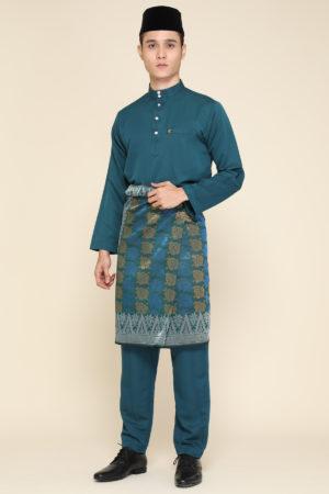 Baju Melayu Sakura Teal Blue