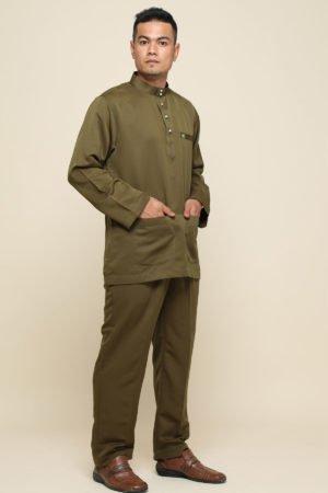 Baju Melayu Sakura Olive Green