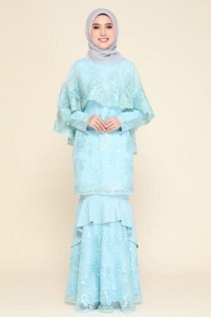 Dress Careena Aqua Blue (cape)