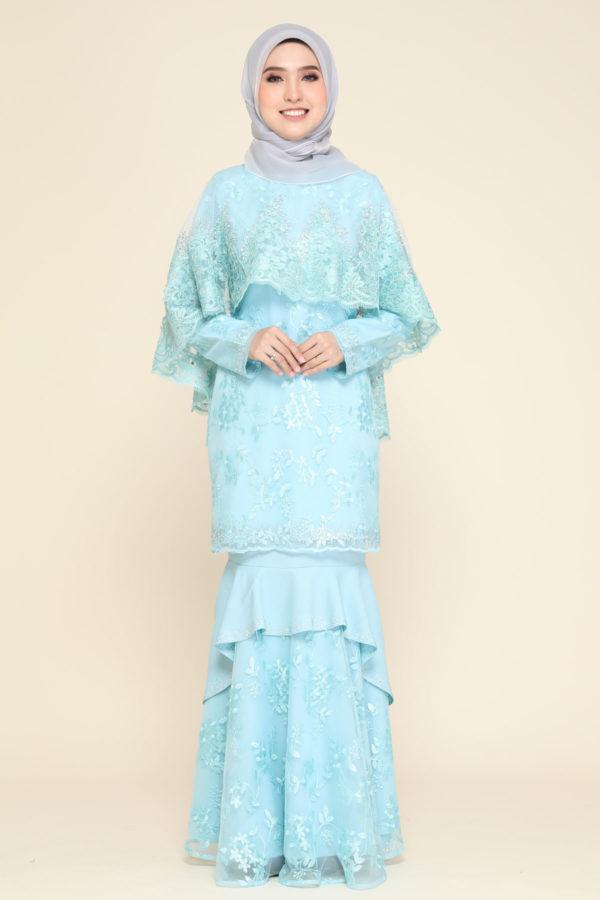 Dress Careena Aqua Blue (cape)