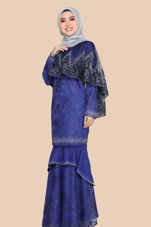 Dress Careena Royal Blue (cape)