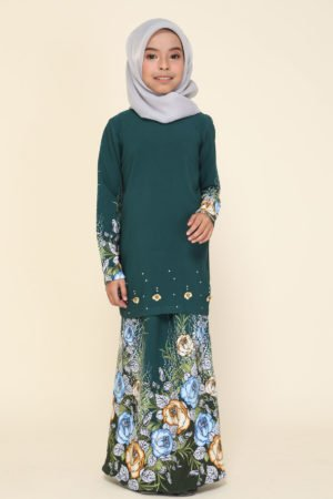 Kurung Flora Kids Emerald Green