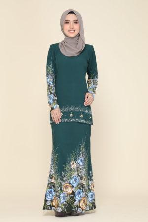 Kurung Flora Emerald Green