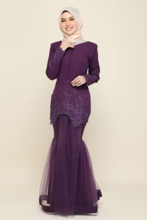 Kurung Heleena Dark Purple