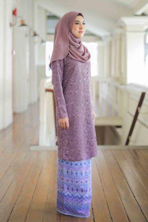 Kurung Batik Aqeela Dusty Purple