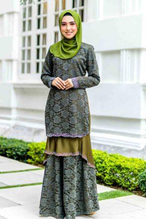 Kurung Qayra Olive Green