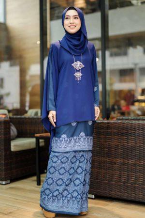 Kurung Sakeena Navy Blue