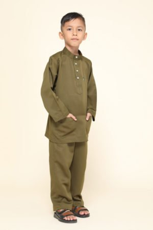 Baju Melayu Kids Olive Green