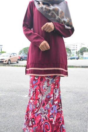 Kurung Julya Maroon