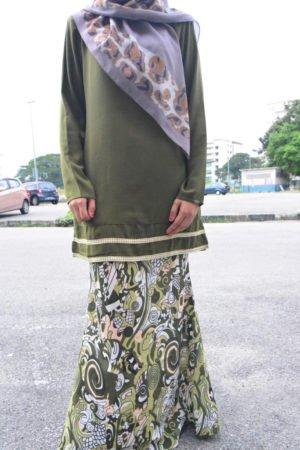Kurung Julya Olive Green