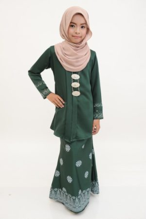 Kebaya Kain Songket Kids Emerald Green