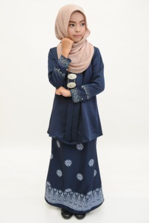 Kebaya Kain Songket Kids Navy Blue