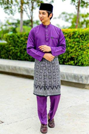 Baju Melayu Sakura Purple Keladi
