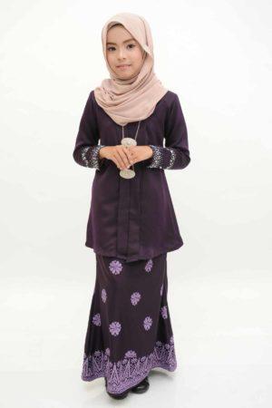 Kebaya Kain Songket Kids Dark Purple