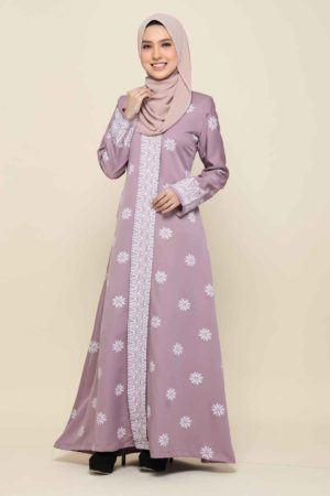 Jubah Songket Dusty Purple