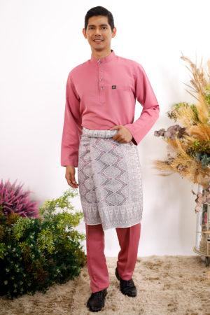 Baju Melayu Al-Habib Dusty Pink ( PAKEJ SAMPIN + SONGKOK )
