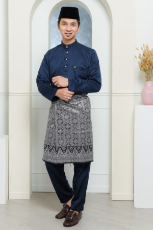 Baju Melayu Sakura Navy Blue