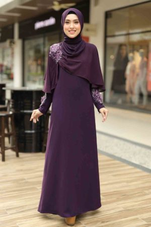 Jubah Diyana Dark Purple
