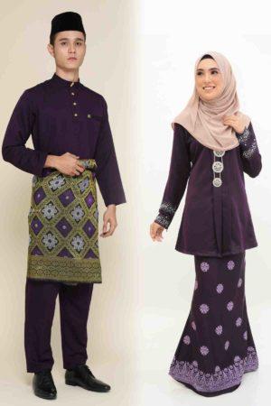 Set Couple Kebaya Kain Songket Dark Purple