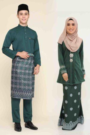 Set Couple Kebaya Kain Songket Emerald Green
