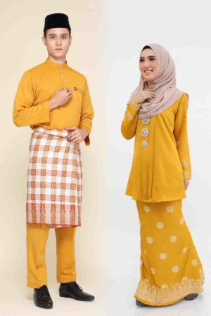 Set Couple Kebaya Kain Songket Mustard
