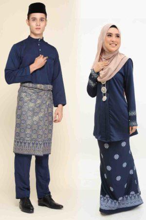 Set Couple Kebaya Kain Songket Navy Blue