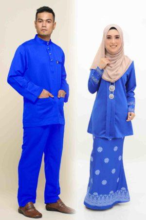 Set Couple Kebaya Kain Songket Royal Blue