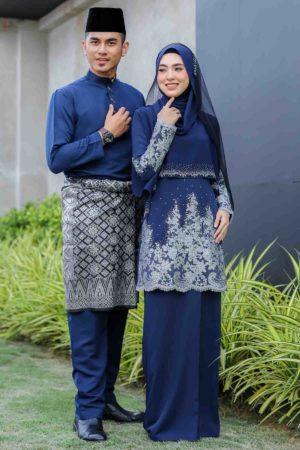 Set Couple Raudhah Navy Blue