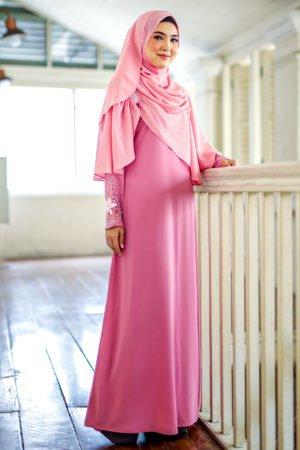 Jubah Diyana Dusty Pink