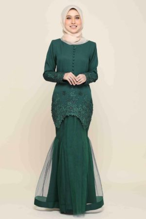 Kurung Heleena Emerald Green