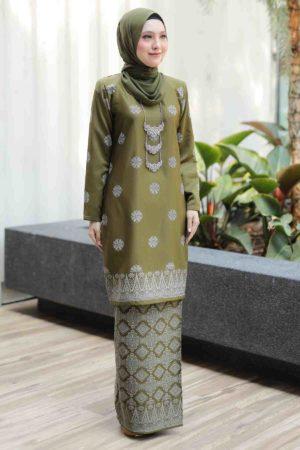 Kurung Songket Tabur Olive Green