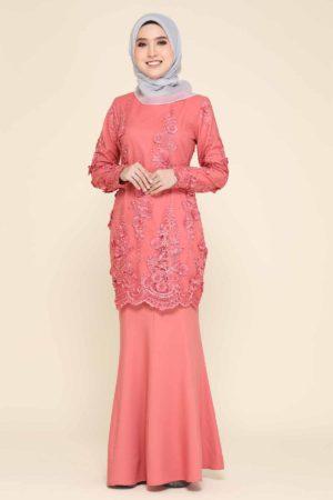 Kurung Mare'a Coral Pink