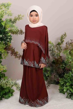 Kurung Seroja Kids Dark Brown