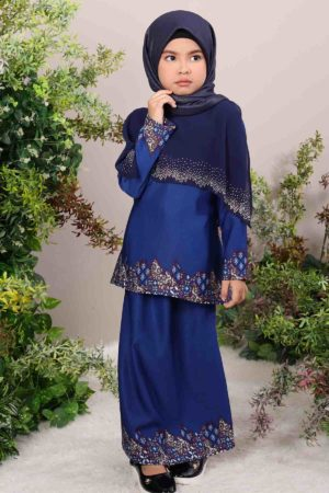 Kurung Seroja Kids Navy Blue