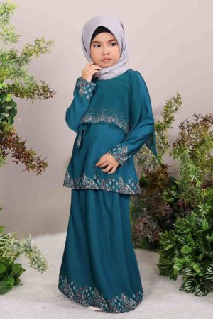 Kurung Seroja Kids Teal Green