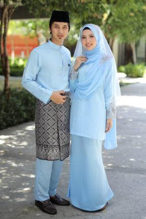 Set Couple Seri Baby Blue (7 ITEM – Termasuk Percuma Songkok)
