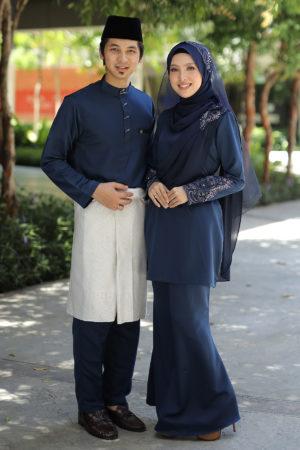 Set Couple Seri Navy Blue (7 ITEM – Termasuk Percuma Songkok)
