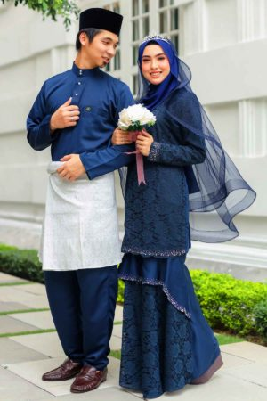Set Couple Qayra Navy Blue (FULL SET)