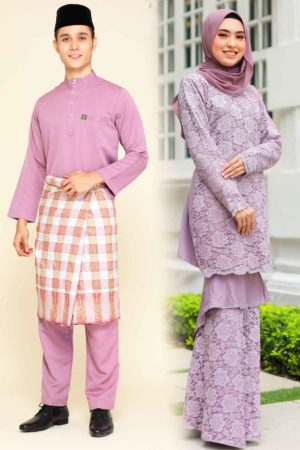 Set Couple Qayra Dusty Purple (FULL SET)