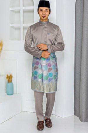 Baju Melayu Crystal Silk Dark Grey