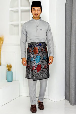 Baju Melayu Crystal Silk Light Grey