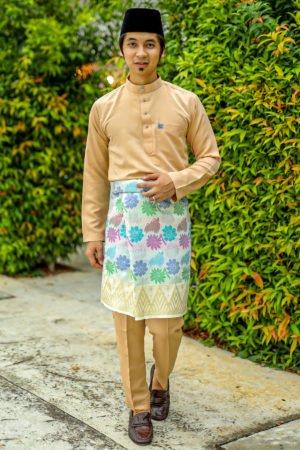 Baju Melayu Crystal Silk Nude