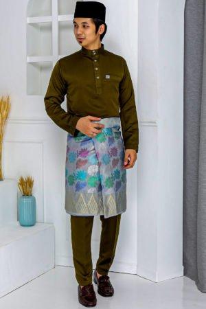 Baju Melayu Crystal Silk Olive Green