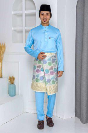 Baju Melayu Crystal Silk Baby Blue