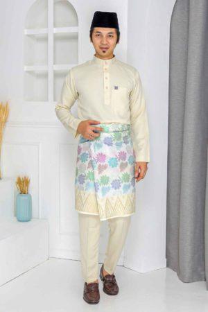 Baju Melayu Crystal Silk Cream
