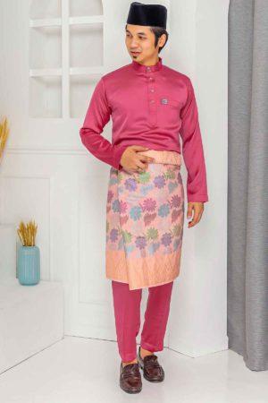 Baju Melayu Crystal Silk Dark Pink