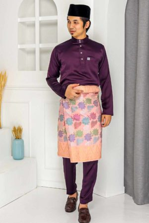 Baju Melayu Crystal Silk Dark Purple