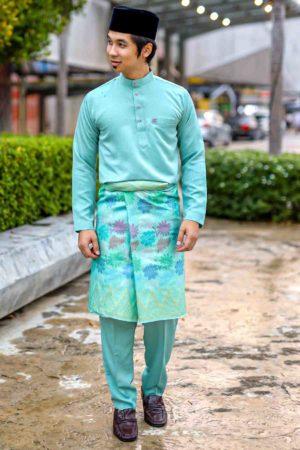 Baju Melayu Crystal Silk Mint Green